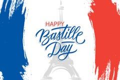 Fransk nationell dag, 14th av banret för Juli borsteslaglängd med Eiffeltorn och hand som märker lycklig Bastilledag vektor illustrationer