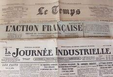 Fransk press av 20-tal av XX århundradet Royaltyfri Foto