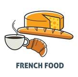 Fransk produkt för mejeri och för bageri för frukost för matFrankrike kokkonst vektor illustrationer