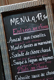Fransk restaurangmeny Arkivfoto
