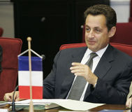 fransk sarkozy nicolas presidentrepublik fotografering för bildbyråer