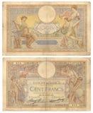Fransk sedel - 100 Franc (1937) Arkivfoton