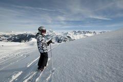 fransk skidåkning för alpsbarn Arkivfoto