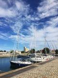 Fransk stad La Rochelle, en forntida hamn med fartyget arkivfoton