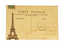 Fransk vykort för tappning med den berömda Eiffeltorn i Paris Royaltyfri Foto