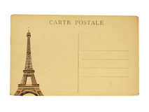 Fransk vykort för tappning med den berömda Eiffeltorn i Paris Royaltyfri Fotografi