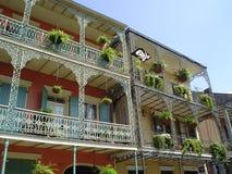 fransk wrought järnfjärdedel för balkong Arkivfoto