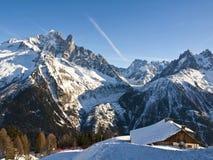 Franska Alps på Chamonix Arkivbilder