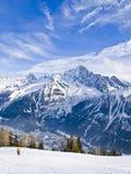 Franska Alps på Chamonix Mont Blanc Arkivbild