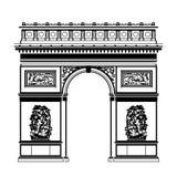Franska Arc de Triomphe i svartvit färg royaltyfri illustrationer
