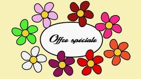 Franska blommor och specialt erbjudande för text Tecknad filmmodell med blommor och specialt erbjudande för inskrift
