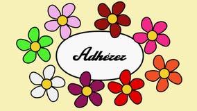 Franska blommor och text sammanfogar nu Tecknad filmmodellen med blommor och inskriften sammanfogar nu