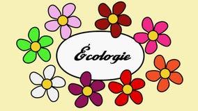 Franska blommor och textekologi Tecknad filmmodell med blommor och ekologitext