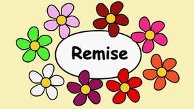 Franska blommor och textrabatt Tecknad filmmodell med blommor och inskriftrabatt