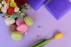Franska färgrika macarons på härlig bakgrund Royaltyfria Bilder