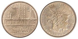 Franska 10 franc Arkivfoton