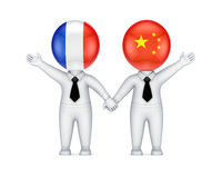Franska-Kines samarbetsbegrepp. Fotografering för Bildbyråer