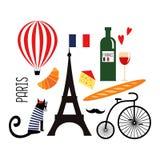Franska kultursymboler för gullig tecknad film: vin Eiffeltorn, bagett, retro cykel, mustasch, ost royaltyfri illustrationer