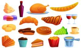 Franska matsymboler upps?ttning, tecknad filmstil stock illustrationer