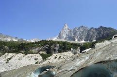 Franska Mer du glace Mont Blanc chamonix fjällängar Arkivbilder