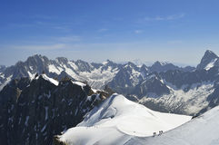 Franska Mont Blanc chamonix fjällängar Arkivfoto