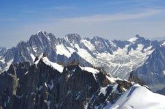 Franska Mont Blanc chamonix fjällängar Fotografering för Bildbyråer