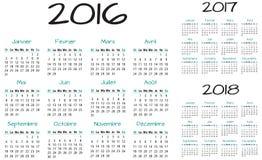 Franska 2016 2017 och 2018 år vektorkalender Royaltyfria Foton