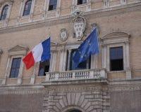 Franska och europeiska fackliga flaggor Fotografering för Bildbyråer