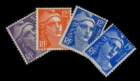 Franska portostämplar för tappning av 50 ` s Royaltyfria Bilder