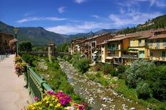 Franska Riviera: Sospel by, medeltida bro Royaltyfria Bilder