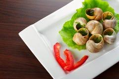 Franska snails i vitlöksmör Arkivfoto