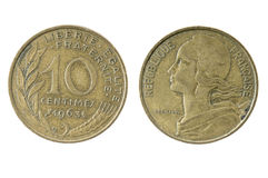 Franska 1963 tio (10) Centimes mynt Royaltyfria Foton