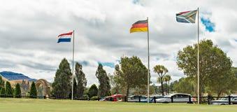 Franska, tysk och södra - afrikanflaggor Royaltyfri Foto