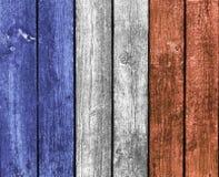 Franskaflagga på trä arkivbilder