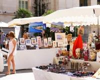 Franskamarknad i trevliga Frankrike Royaltyfria Bilder
