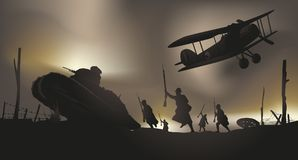 Franskan anfaller i dikena av kriget 14 vektor illustrationer
