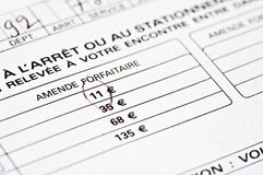 Franskan bötfäller formen för att parkera Arkivfoton