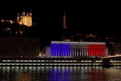 Franskan färgar på Palais de Rättvisa i Lyon Royaltyfria Bilder