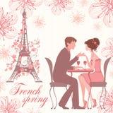 Franskan fjädrar vektorillustrationen med par på kafét Stock Illustrationer