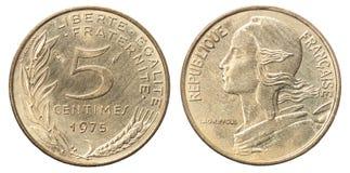 Franskan myntar 5 centimes royaltyfri bild