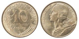 Franskan myntar 10 centimes Arkivbild