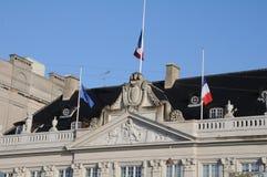 Franskan sjunker ambassaden för ar-hafmast_french i Köpenhamn Fotografering för Bildbyråer