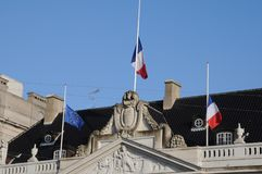 Franskan sjunker ambassaden för ar-hafmast_french i Köpenhamn Royaltyfri Fotografi