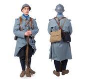 Franskan tjäna som soldat 1914 1918, November 11th, framdelen och drar tillbaka, på whit Fotografering för Bildbyråer