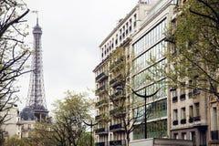 Franskaparis gata med Eiffeltorn i perspektivtroughtträd Arkivfoto