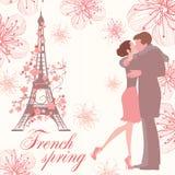 Franskavårillustration med kyssande par Vektor Illustrationer