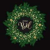 Franskt för Joyeux Noel för glad jul kort hälsning med den tokiga kransen stock illustrationer