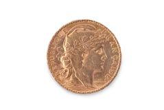 Franskt forntida guld- mynt 20 francs obverse Arkivbilder