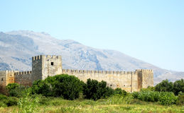 Franskt fort (Fragokastello) i den Creta ön, Grekland Royaltyfri Fotografi