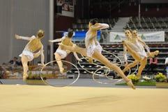 franskt gymnastiskt rythmic lag Arkivbilder
